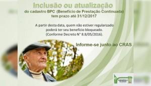 Serranópolis: Inclusão ou atualização dos cadastros do BPC  -