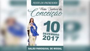 Festa Paroquial de Missal será no dia 10 de dezembro -