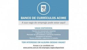 Confira as vagas disponíveis no Banco de Currículos Acime -
