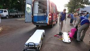 Medianeira: Motociclista sofre queda após a caminhão enroscar em fios -