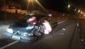 Matelândia: Motorista fica preso às ferragens em acidente na BR 277 -