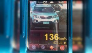 PRE flagra carro a 136 km/h na PR-495, cujo limite é 80 km/h -