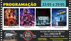 Cine Sul Cinemas: Confira a programação completa do dia 23 ao dia 29 de maio -