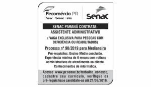 Senac Paraná Contrata: Assistente Administrativo -