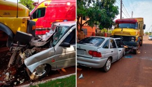 Serranópolis: Motorista fica ferido após colidir com veículo em caminhão estacionado -