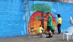 Medianeira: Oficina de Grafite com tema de esporte é realizado no Poliesportivo -