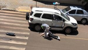 Medianeira: Motociclista fica ferido em grave acidente no Bairro Cidade Alta -