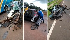 Matelândia: Grave acidente entre ônibus e carro é registrado na BR-277 -