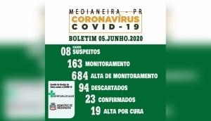 Medianeira: Boletim Oficial Covid-19 - 05 de junho -