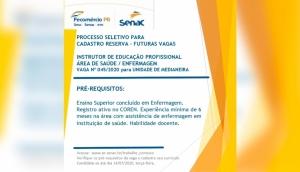 Senac Medianeira realiza processo seletivo para instrutor na área da saúde -