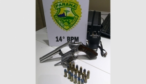Serranópolis: PM apreende revólver e detém duas pessoas por posse irregular de arma de fogo -