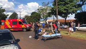 Medianeira: Mulher fica gravemente ferida em acidente envolvendo bicicleta e moto -
