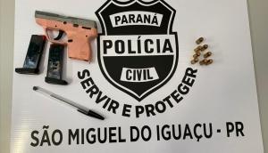 São Miguel: Polícia Civil prende duas pessoas, uma por mandado e outra por posse de arma de fogo -