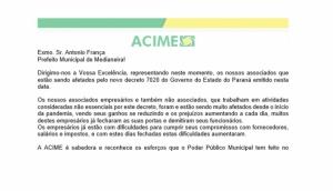 Presidente da ACIME encaminha ofício para Prefeitura Municipal sobre o decreto 7020 -
