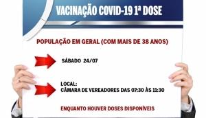 Vacinação da 1ª dose contra a Covid-19 em Missal será no sábado para pessoas com mais de 38 anos -