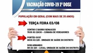 Vacinação de 1ª dose contra a Covid-19 em Missal será para população com mais de 35 anos -